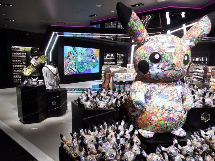 Die exklusiven Graffiti Pikachu im Pokémon Center Shibuya.