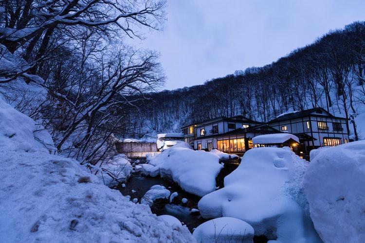 Nyuto Onsen in Akita ist ein Spa Ort mit vielen heißen Quellen.