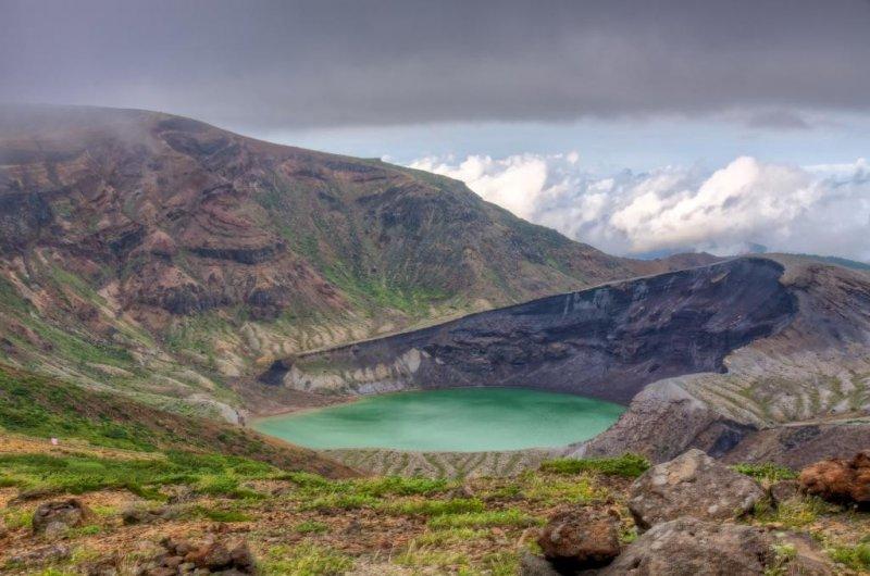 Der Okama Krater in Miyagi.