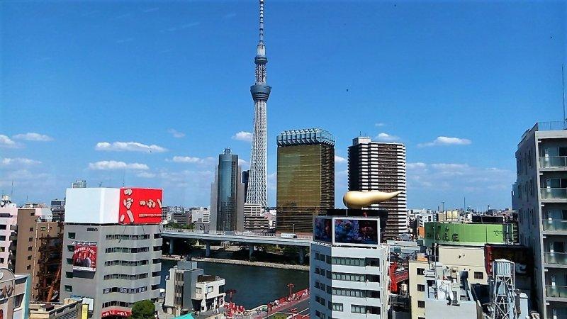 Der Ausblick auf Asakusa erinnert an ein Postkartenmotiv.