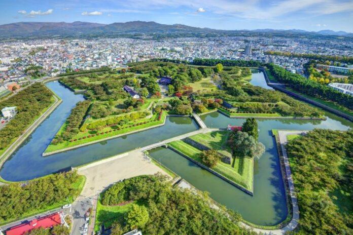 Goryokaku Park und Festung in Hakodate, Hokkaido.