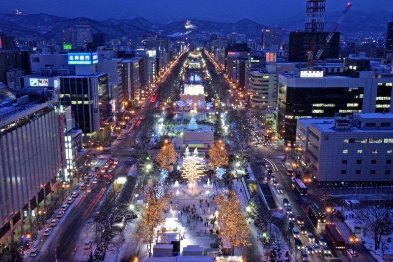 Die Stadt Sapporo im Winter.