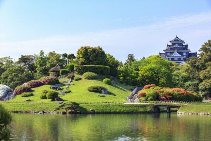 Korakuen Garten und Burg Okayama.