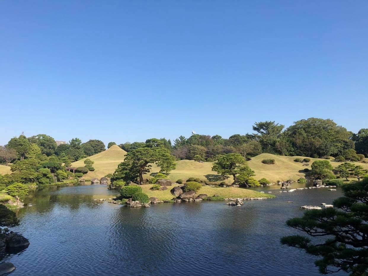 Komprimierte Landschaft im Suizenji Park.