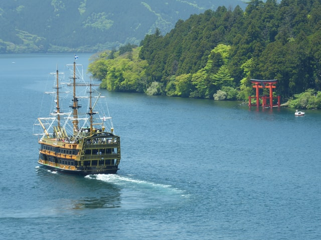 Ashi See in Hakone, Präfektur Kanagawa.