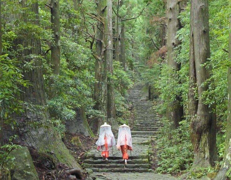 Pilger am Daimon-Zaka-Pfad in Wakayama.